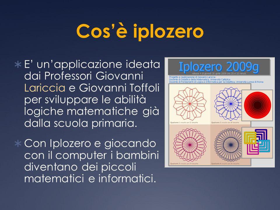 Cosè iplozero E unapplicazione ideata dai Professori Giovanni Lariccia e Giovanni Toffoli per sviluppare le abilità logiche matematiche già dalla scuo