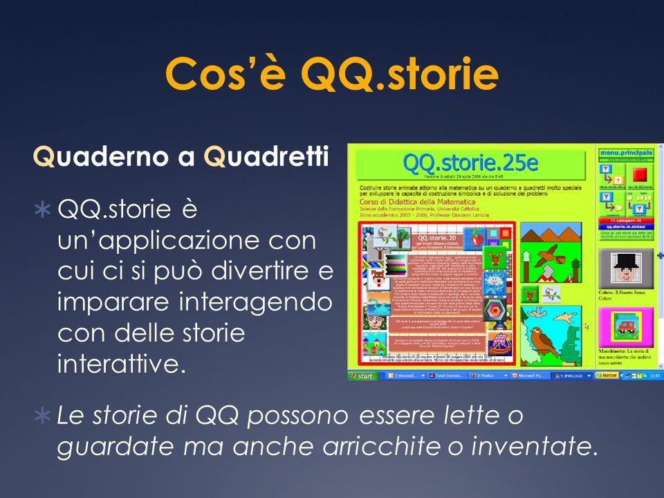 Cosè QQ.storie Quaderno a Quadretti QQ.storie è unapplicazione con cui ci si può divertire e imparare interagendo con delle storie interattive. Le sto