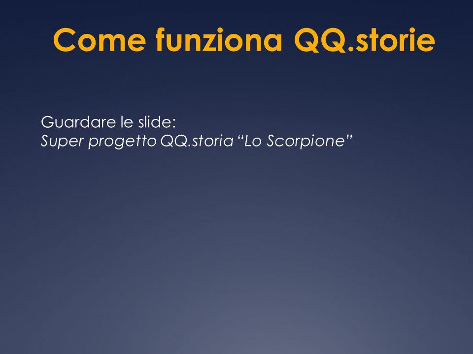 Come funziona QQ.storie Guardare le slide: Super progetto QQ.storia Lo Scorpione