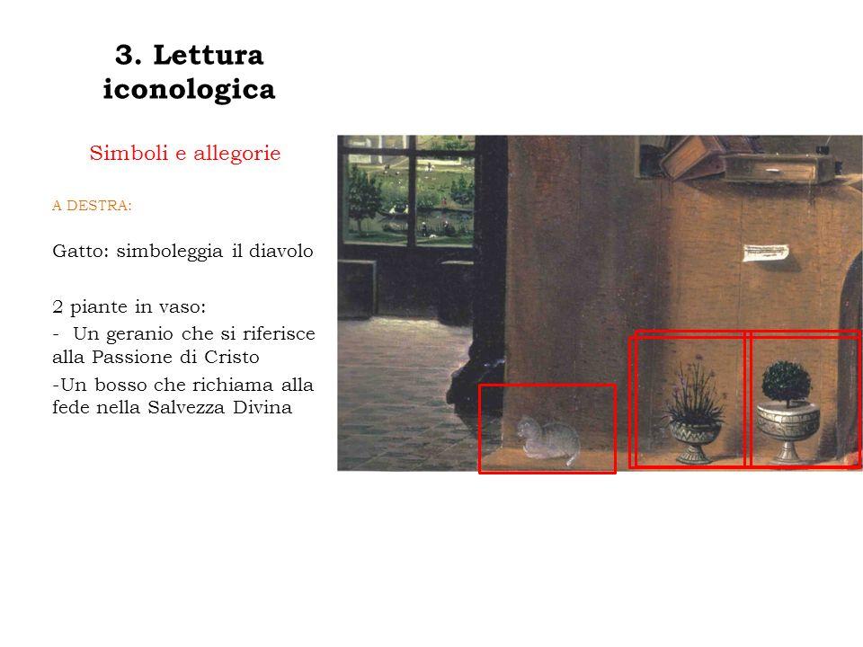 3. Lettura iconologica Simboli e allegorie A DESTRA: Gatto: simboleggia il diavolo 2 piante in vaso: - Un geranio che si riferisce alla Passione di Cr