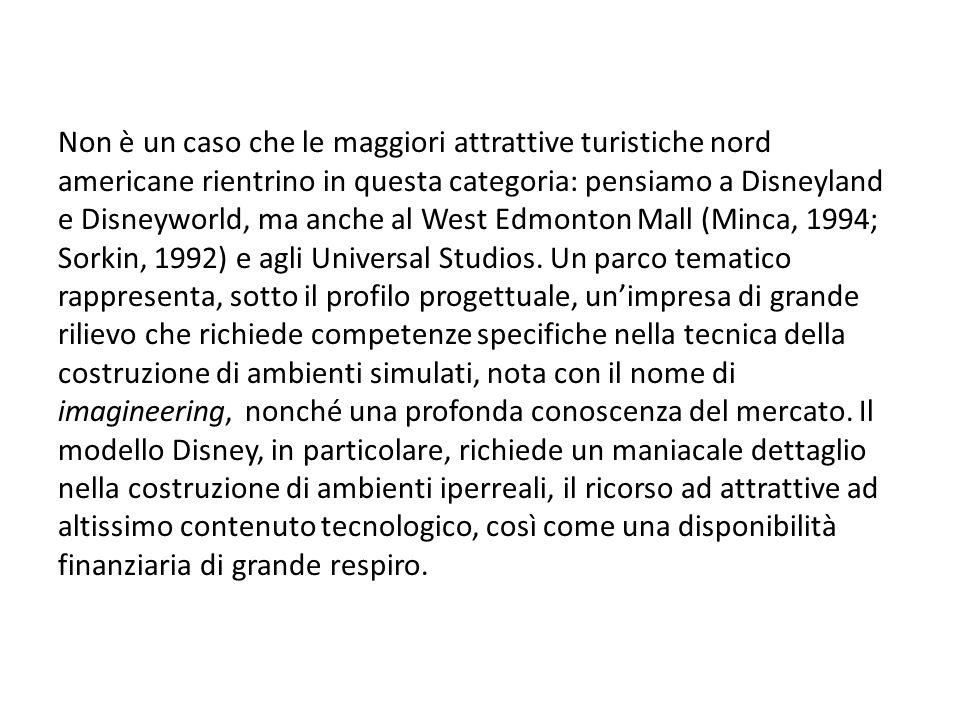 Non è un caso che le maggiori attrattive turistiche nord americane rientrino in questa categoria: pensiamo a Disneyland e Disneyworld, ma anche al West Edmonton Mall (Minca, 1994; Sorkin, 1992) e agli Universal Studios.