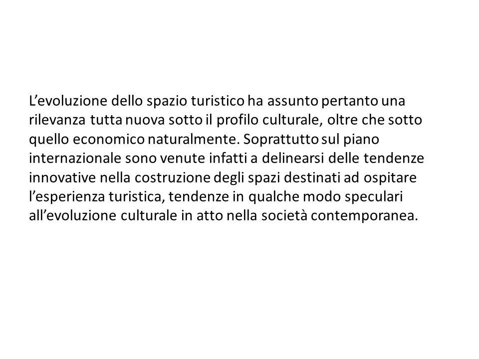 Levoluzione dello spazio turistico ha assunto pertanto una rilevanza tutta nuova sotto il profilo culturale, oltre che sotto quello economico naturalmente.