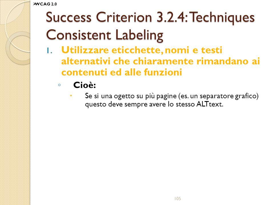 Success Criterion 3.2.4: Techniques Consistent Labeling 1. Utilizzare eticchette, nomi e testi alternativi che chiaramente rimandano ai contenuti ed a