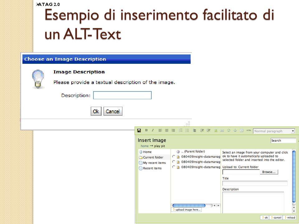 125 Esempio di inserimento facilitato di un ALT-Text ATAG 2.0
