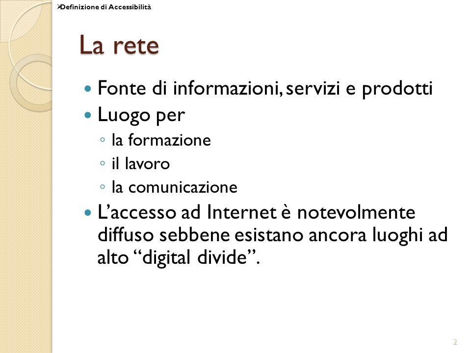 2 La rete Fonte di informazioni, servizi e prodotti Luogo per la formazione il lavoro la comunicazione Laccesso ad Internet è notevolmente diffuso seb