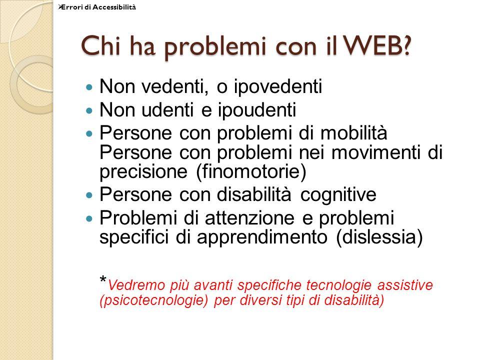Chi ha problemi con il WEB? Non vedenti, o ipovedenti Non udenti e ipoudenti Persone con problemi di mobilità Persone con problemi nei movimenti di pr