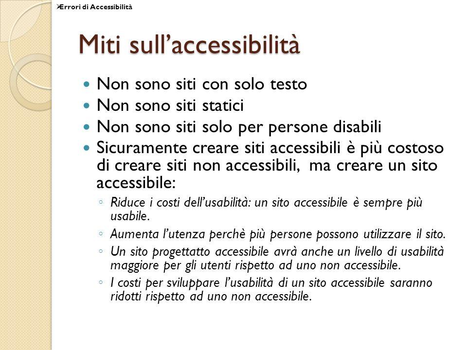 Miti sullaccessibilità Non sono siti con solo testo Non sono siti statici Non sono siti solo per persone disabili Sicuramente creare siti accessibili