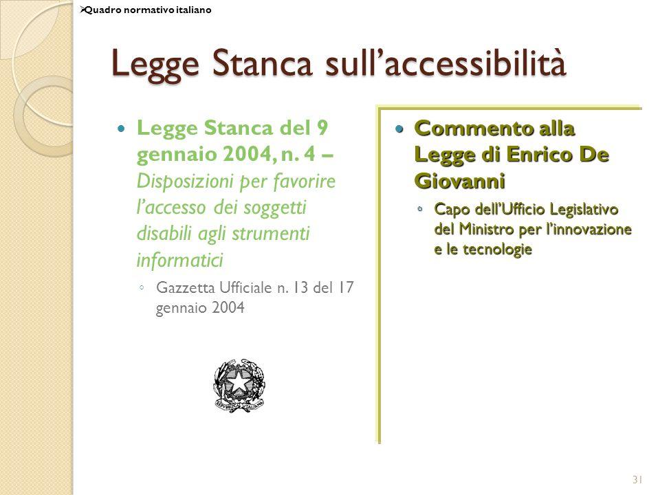 31 Legge Stanca sullaccessibilità Legge Stanca del 9 gennaio 2004, n. 4 – Disposizioni per favorire laccesso dei soggetti disabili agli strumenti info