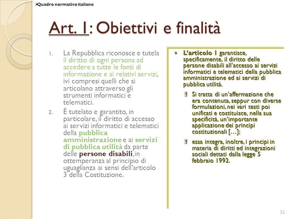 32 Art.1: Obiettivi e finalità 1.