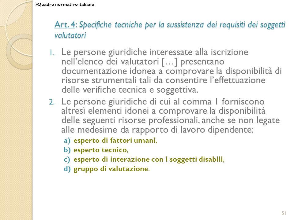 51 Art. 4: Specifiche tecniche per la sussistenza dei requisiti dei soggetti valutatori 1. Le persone giuridiche interessate alla iscrizione nellelenc
