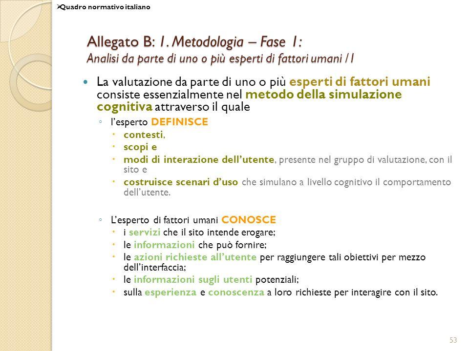 53 Allegato B: 1. Metodologia – Fase 1: Analisi da parte di uno o più esperti di fattori umani /1 La valutazione da parte di uno o più esperti di fatt