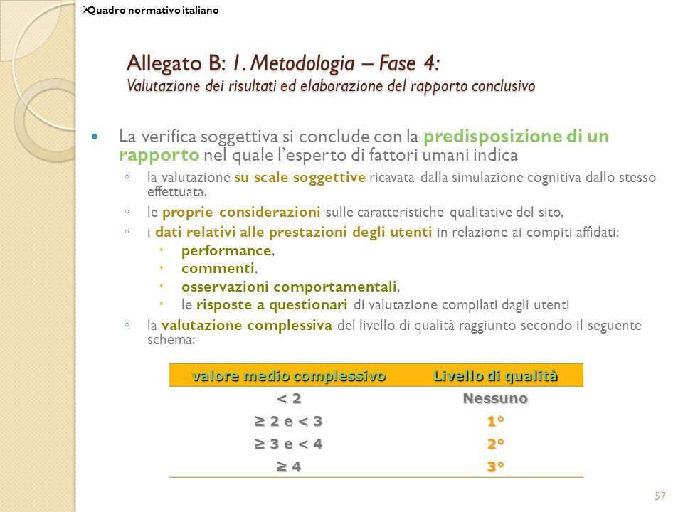 57 Allegato B: 1. Metodologia – Fase 4: Valutazione dei risultati ed elaborazione del rapporto conclusivo La verifica soggettiva si conclude con la pr