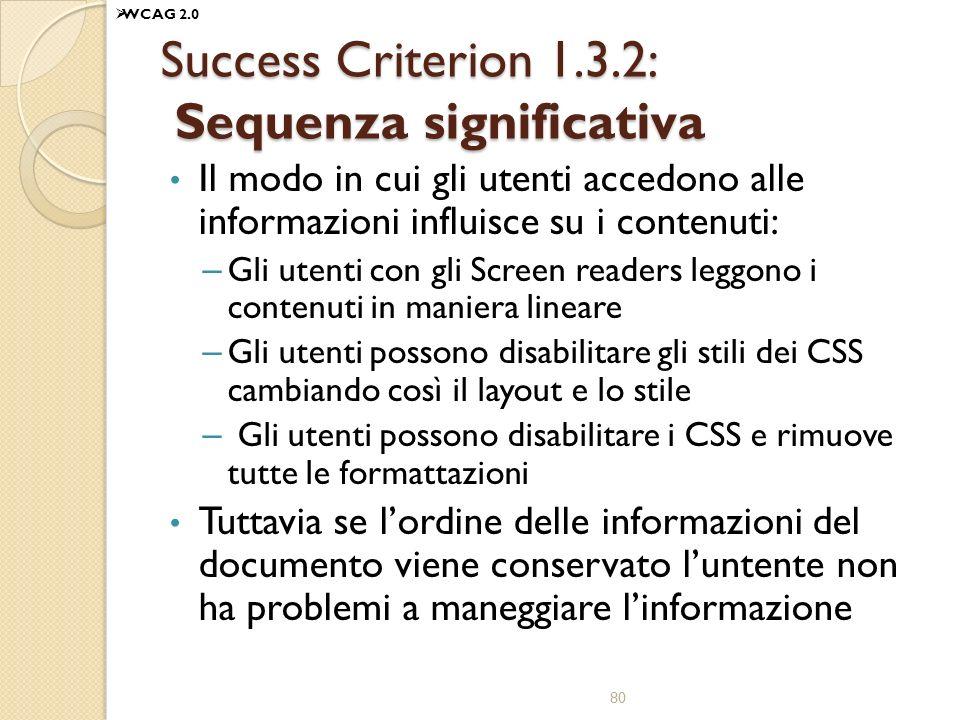 Success Criterion 1.3.2: Sequenza significativa Il modo in cui gli utenti accedono alle informazioni influisce su i contenuti: – Gli utenti con gli Screen readers leggono i contenuti in maniera lineare – Gli utenti possono disabilitare gli stili dei CSS cambiando così il layout e lo stile – Gli utenti possono disabilitare i CSS e rimuove tutte le formattazioni Tuttavia se lordine delle informazioni del documento viene conservato luntente non ha problemi a maneggiare linformazione 80 WCAG 2.0