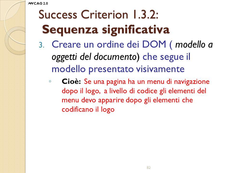 Success Criterion 1.3.2: Sequenza significativa 3. Creare un ordine dei DOM ( modello a oggetti del documento) che segue il modello presentato visivam