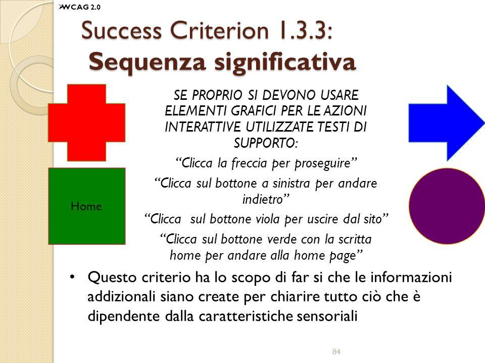 Success Criterion 1.3.3: Sequenza significativa SE PROPRIO SI DEVONO USARE ELEMENTI GRAFICI PER LE AZIONI INTERATTIVE UTILIZZATE TESTI DI SUPPORTO: Cl