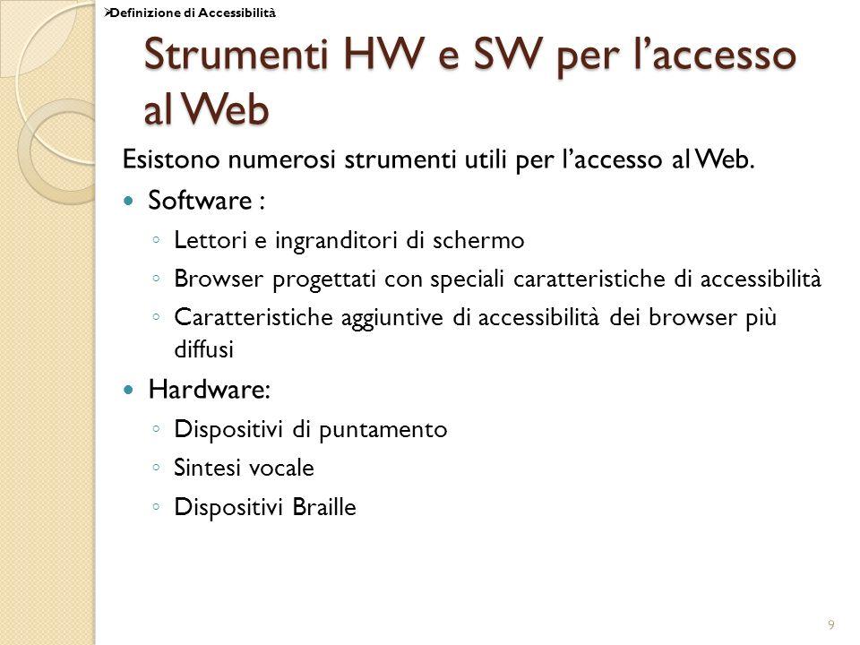 9 Strumenti HW e SW per laccesso al Web Esistono numerosi strumenti utili per laccesso al Web. Software : Lettori e ingranditori di schermo Browser pr
