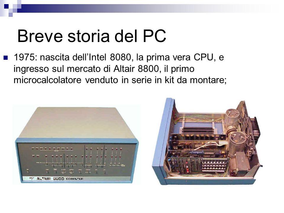 Breve storia del PC 1975: nascita dellIntel 8080, la prima vera CPU, e ingresso sul mercato di Altair 8800, il primo microcalcolatore venduto in serie