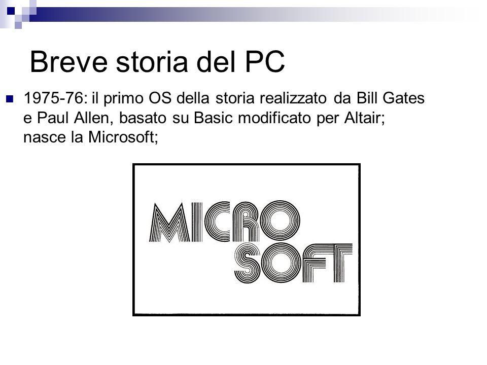Breve storia del PC 1975-76: il primo OS della storia realizzato da Bill Gates e Paul Allen, basato su Basic modificato per Altair; nasce la Microsoft