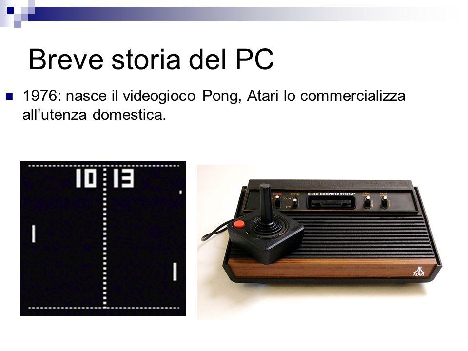 Breve storia del PC 1976: nasce il videogioco Pong, Atari lo commercializza allutenza domestica.