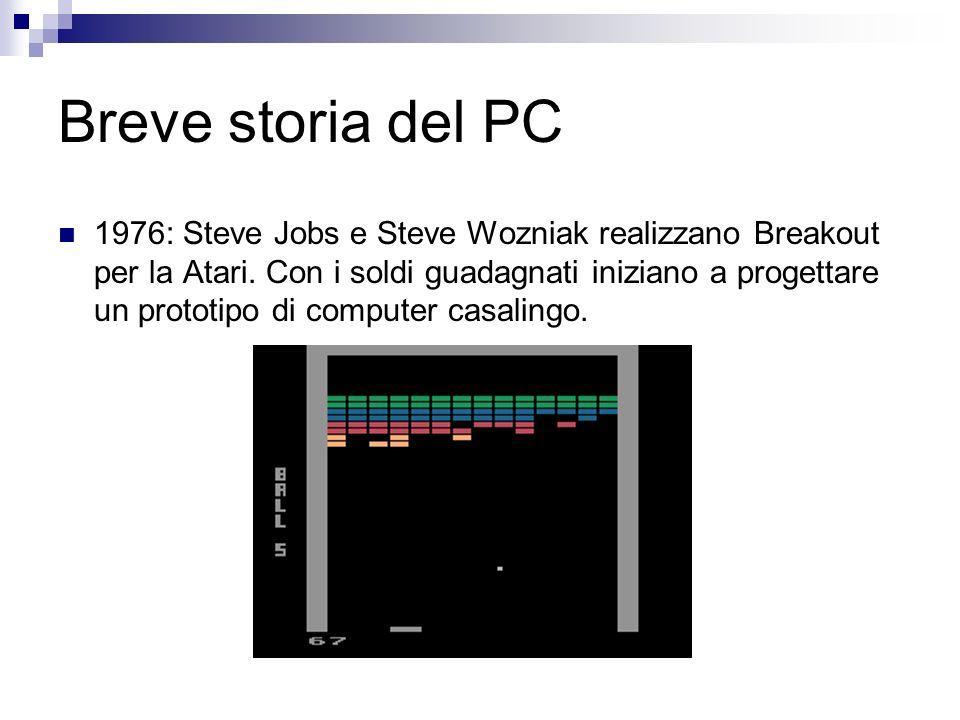 Breve storia del PC 1976: Steve Jobs e Steve Wozniak realizzano Breakout per la Atari. Con i soldi guadagnati iniziano a progettare un prototipo di co