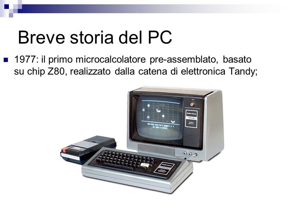 Breve storia del PC 1977: il primo microcalcolatore pre-assemblato, basato su chip Z80, realizzato dalla catena di elettronica Tandy;