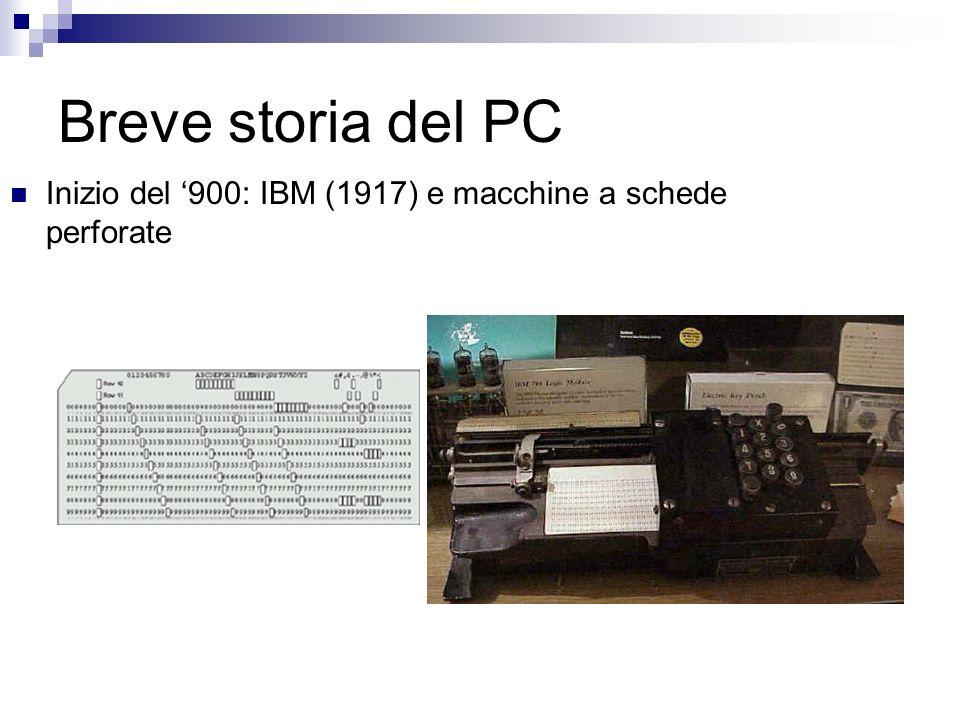 Breve storia del PC Inizio del 900: IBM (1917) e macchine a schede perforate
