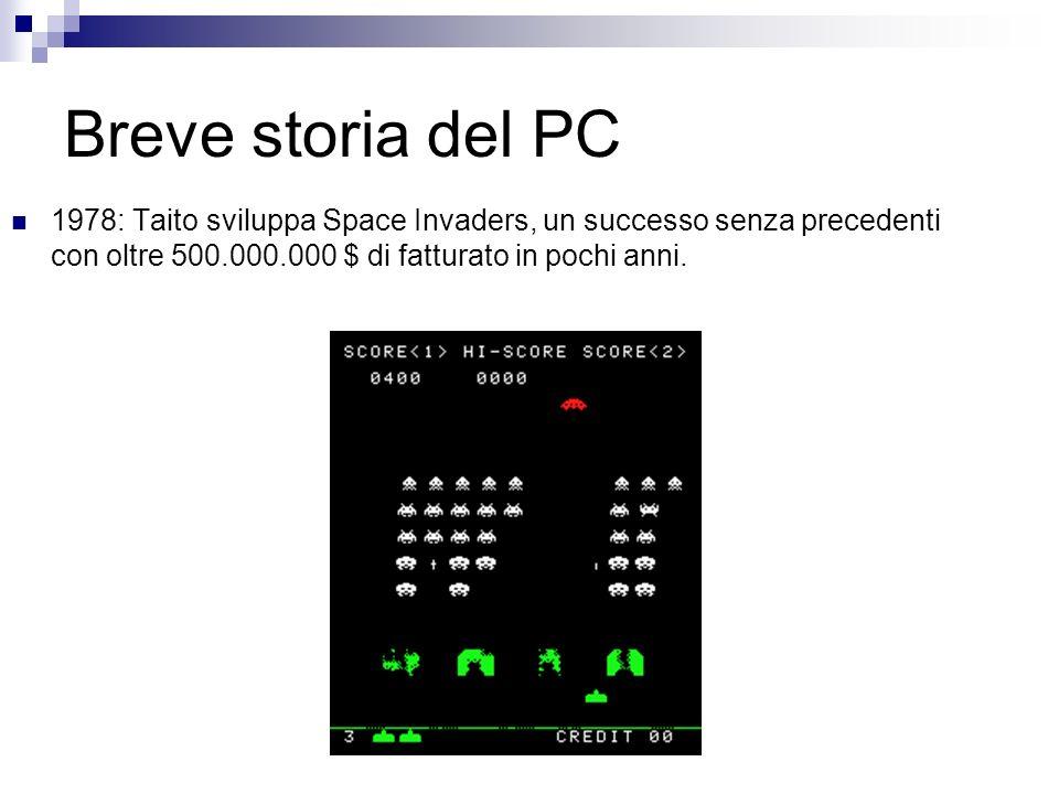 Breve storia del PC 1978: Taito sviluppa Space Invaders, un successo senza precedenti con oltre 500.000.000 $ di fatturato in pochi anni.