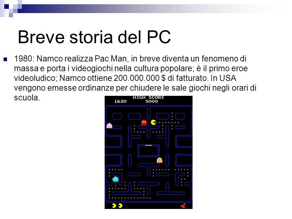 Breve storia del PC 1980: Namco realizza Pac Man, in breve diventa un fenomeno di massa e porta i videogiochi nella cultura popolare; è il primo eroe
