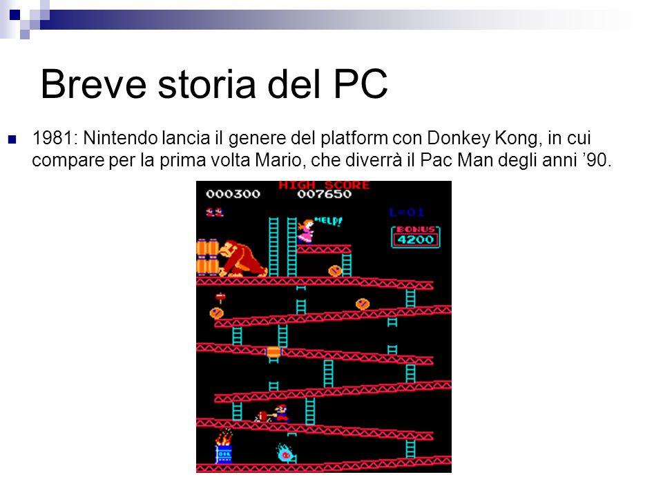 Breve storia del PC 1981: Nintendo lancia il genere del platform con Donkey Kong, in cui compare per la prima volta Mario, che diverrà il Pac Man degl