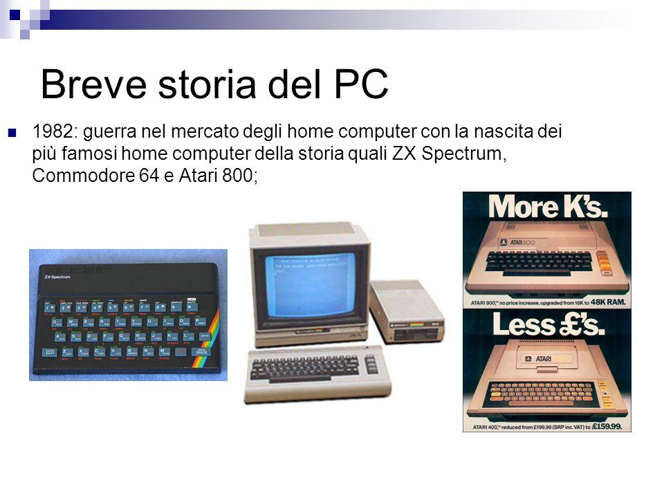 Breve storia del PC 1982: guerra nel mercato degli home computer con la nascita dei più famosi home computer della storia quali ZX Spectrum, Commodore