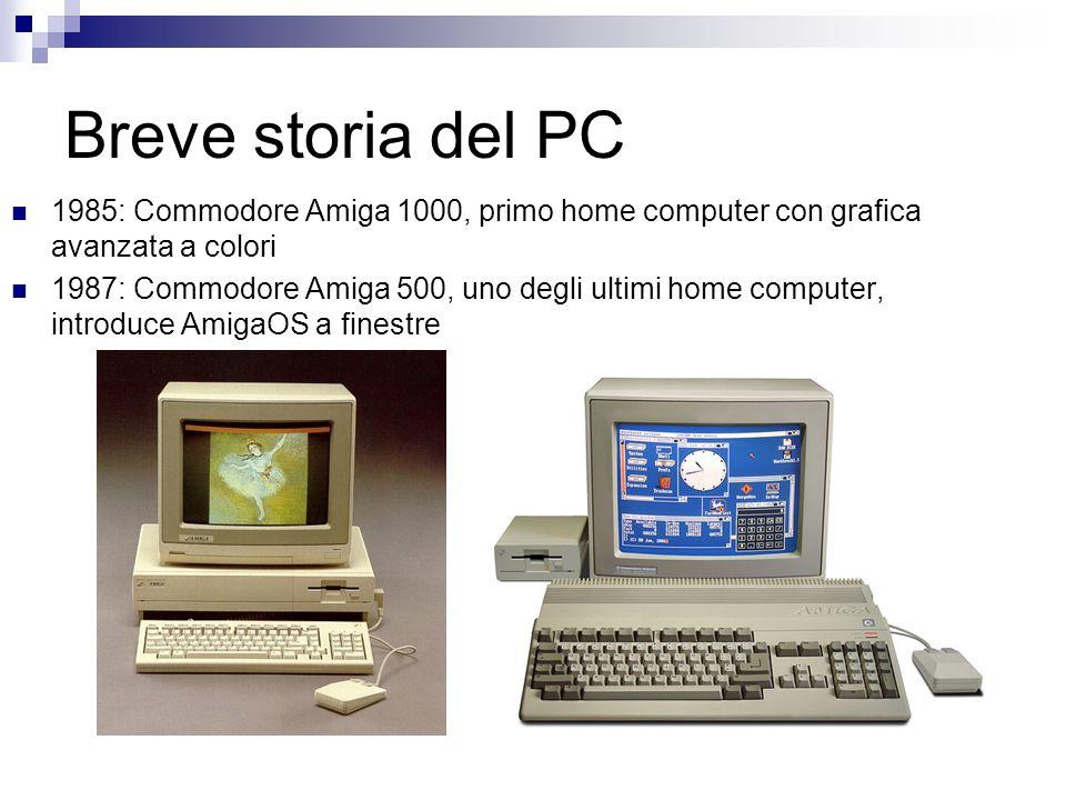 Breve storia del PC 1985: Commodore Amiga 1000, primo home computer con grafica avanzata a colori 1987: Commodore Amiga 500, uno degli ultimi home com