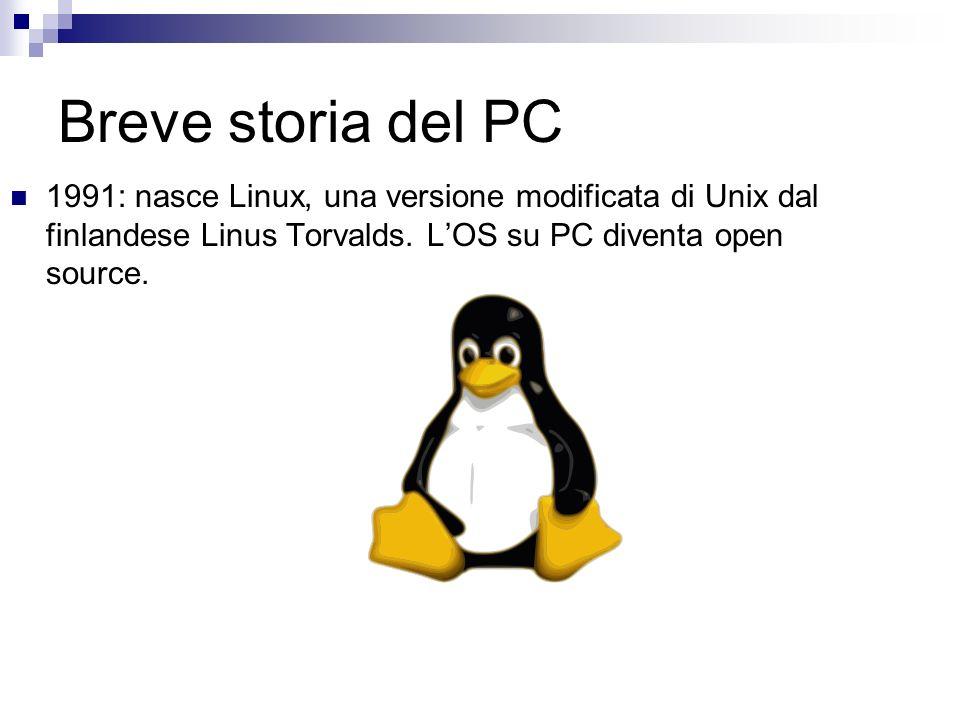 Breve storia del PC 1991: nasce Linux, una versione modificata di Unix dal finlandese Linus Torvalds. LOS su PC diventa open source.