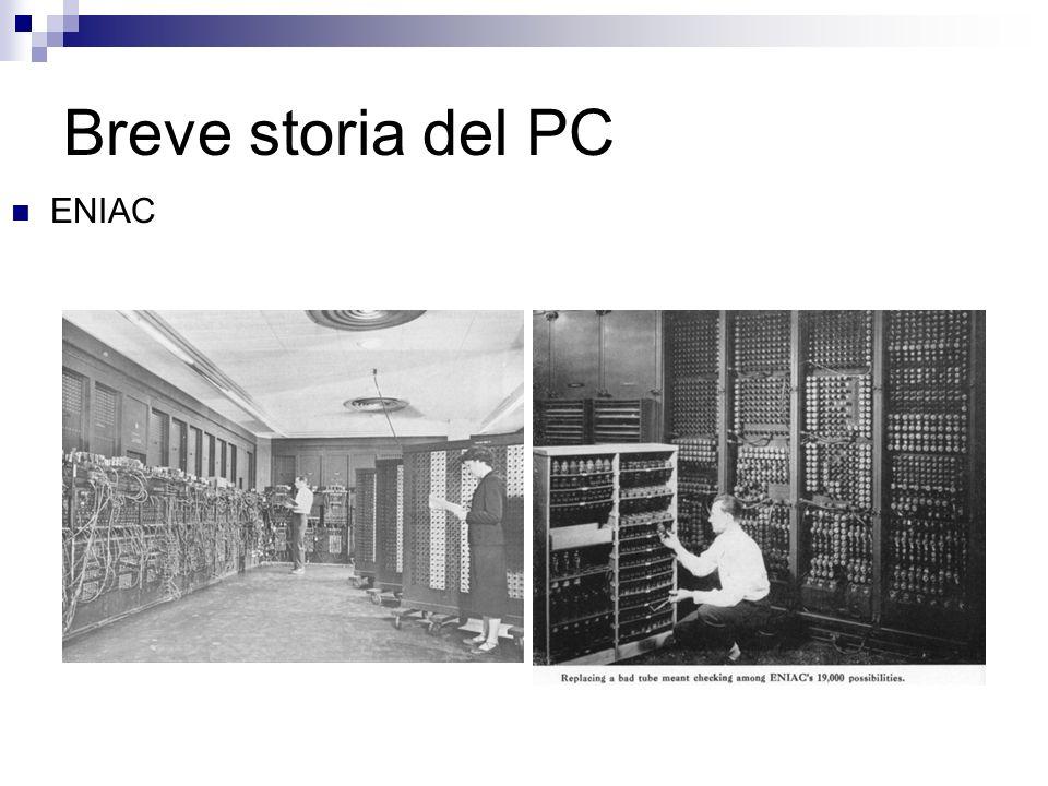 Breve storia del PC Caratteristiche a confronto ENIAC (1946)Intel Pentium (1996) Addizioni al secondo5.000300.000.000 (modello 150Mhz) Memoria200 bytes16.000.000 bytes Elementi18.000 tubi a vuoto 6.000 interruttori 10.000 condensatori 70.000 resistenze 1.500 relays 4.000.000 transistor (solo CPU) Dimensioni3 m (altezza) x 160 m 2 Tipiche da PC Peso30 tonnellatecirca 3 KG