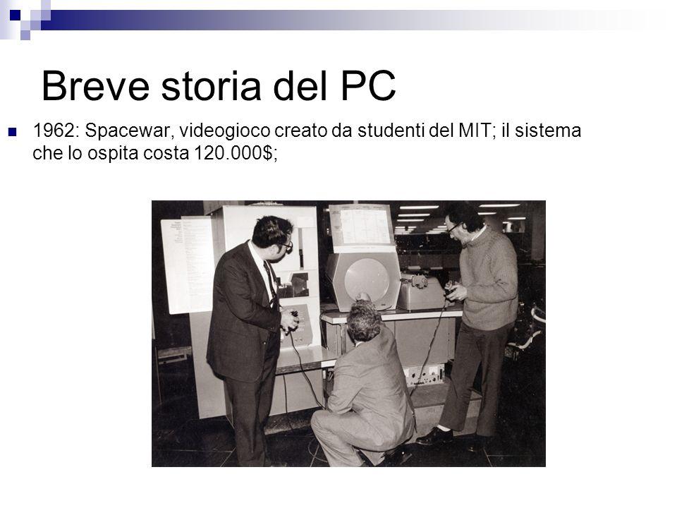 Breve storia del PC 1962: Spacewar, videogioco creato da studenti del MIT; il sistema che lo ospita costa 120.000$;