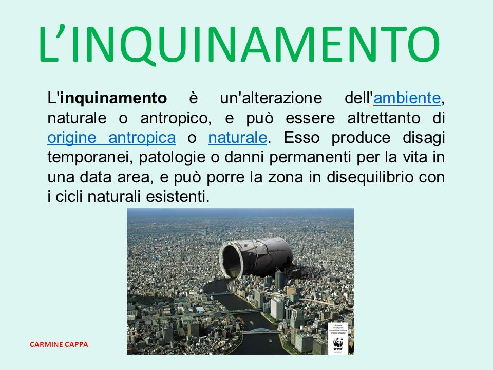 CARMINE CAPPA LINQUINAMENTO L inquinamento è un alterazione dell ambiente, naturale o antropico, e può essere altrettanto di origine antropica o naturale.