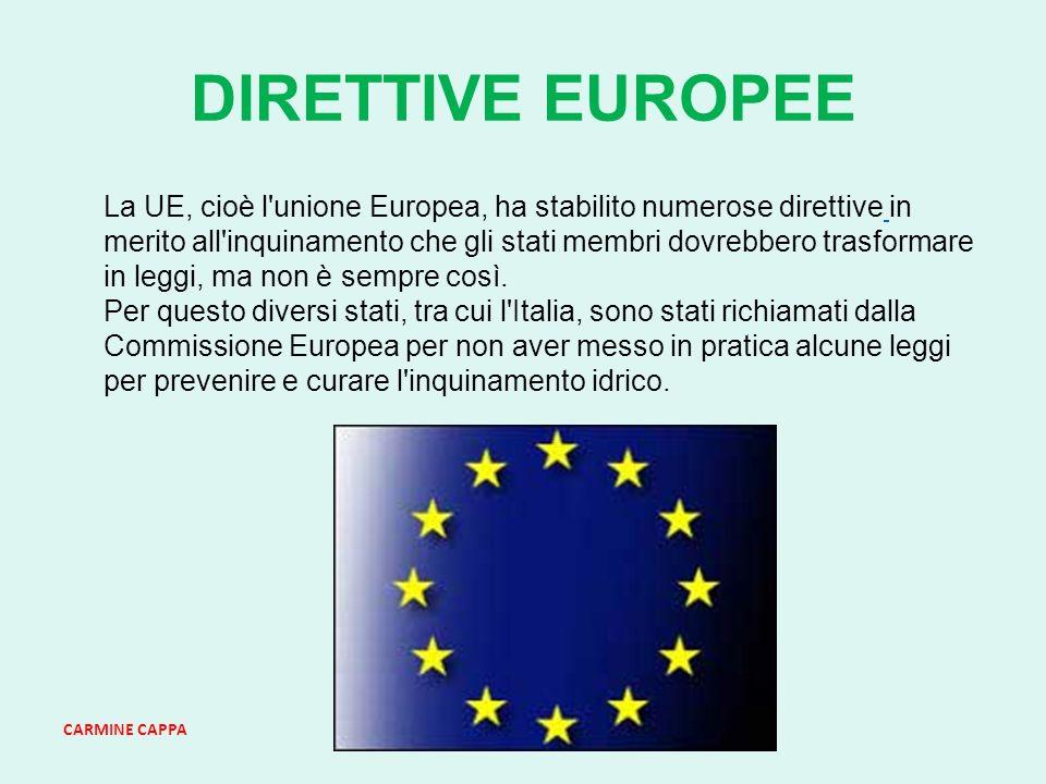 CARMINE CAPPA DIRETTIVE EUROPEE La UE, cioè l unione Europea, ha stabilito numerose direttive in merito all inquinamento che gli stati membri dovrebbero trasformare in leggi, ma non è sempre così.