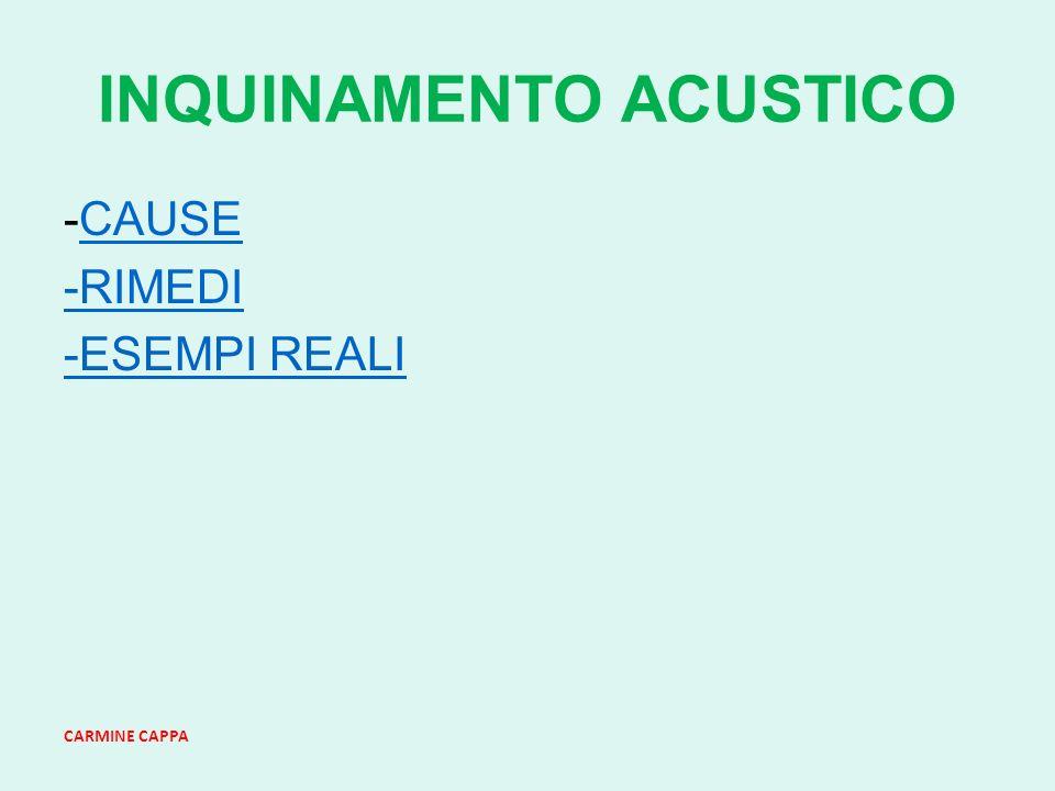 CARMINE CAPPA INQUINAMENTO ACUSTICO -CAUSECAUSE -RIMEDIRIMEDI -ESEMPI REALI