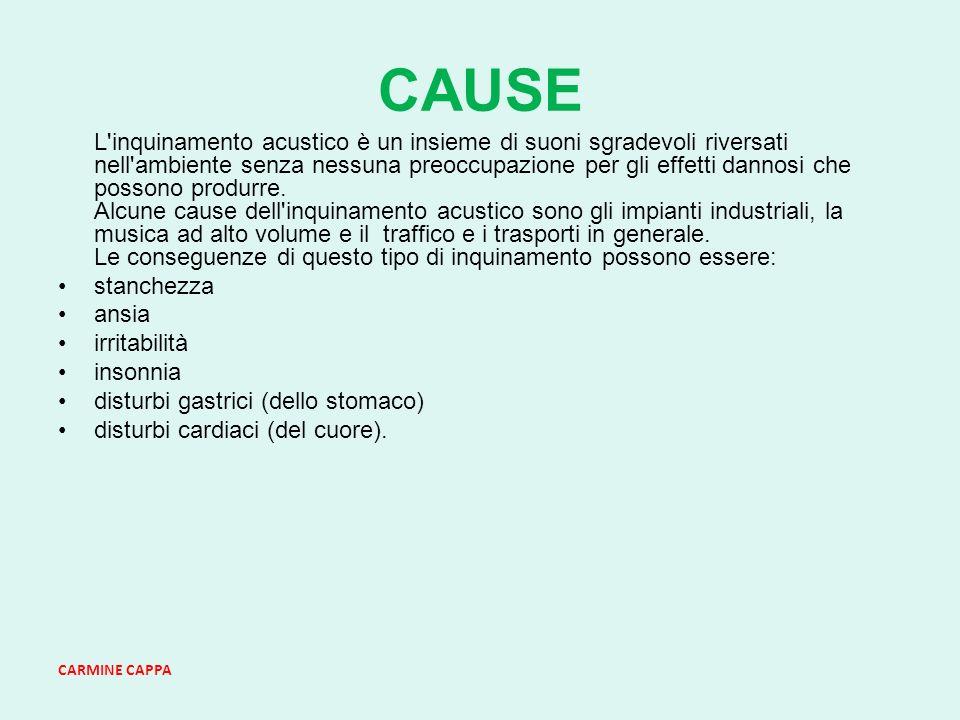 CARMINE CAPPA CAUSE L inquinamento acustico è un insieme di suoni sgradevoli riversati nell ambiente senza nessuna preoccupazione per gli effetti dannosi che possono produrre.