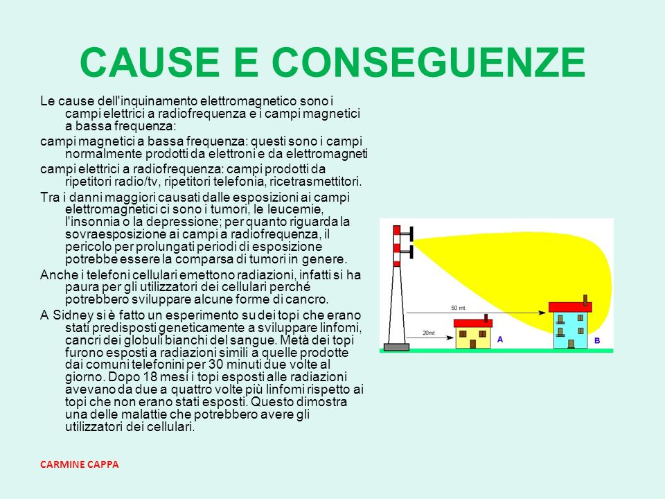 CARMINE CAPPA CAUSE E CONSEGUENZE Le cause dell inquinamento elettromagnetico sono i campi elettrici a radiofrequenza e i campi magnetici a bassa frequenza: campi magnetici a bassa frequenza: questi sono i campi normalmente prodotti da elettroni e da elettromagneti campi elettrici a radiofrequenza: campi prodotti da ripetitori radio/tv, ripetitori telefonia, ricetrasmettitori.
