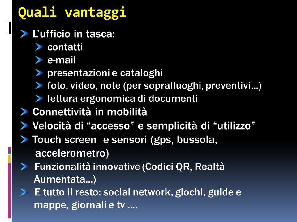Quali vantaggi Lufficio in tasca: contatti e-mail presentazioni e cataloghi foto, video, note (per sopralluoghi, preventivi...) lettura ergonomica di