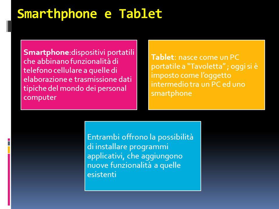 Smarthphone e Tablet Smartphone :dispositivi portatili che abbinano funzionalità di telefono cellulare a quelle di elaborazione e trasmissione dati ti