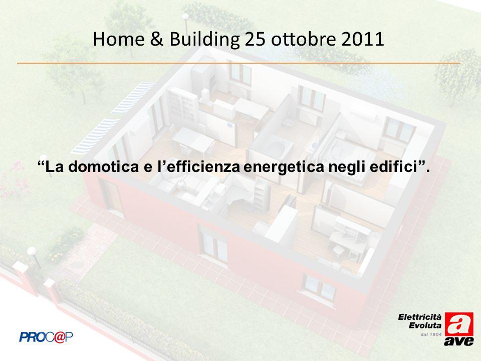La domotica e lefficienza energetica negli edifici. Home & Building 25 ottobre 2011
