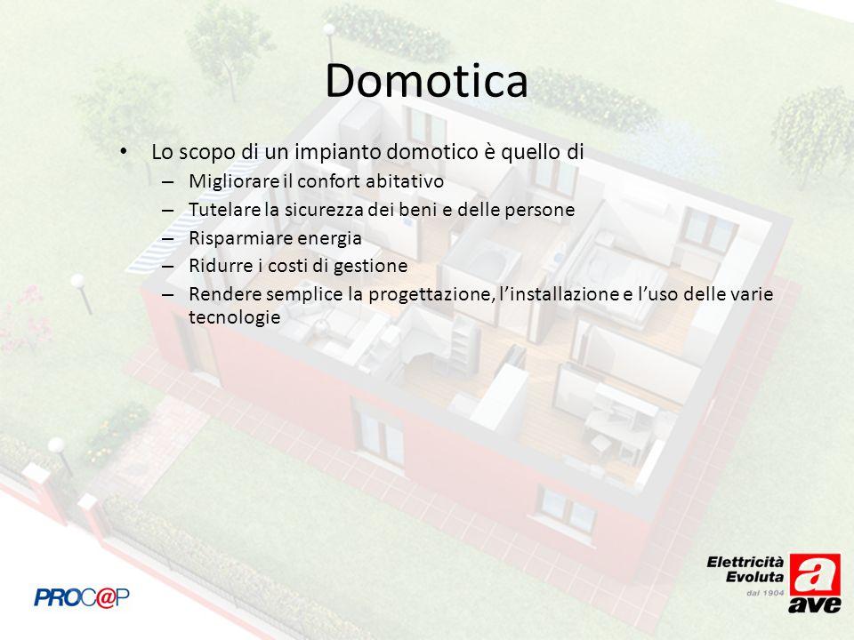Lo scopo di un impianto domotico è quello di – Migliorare il confort abitativo – Tutelare la sicurezza dei beni e delle persone – Risparmiare energia