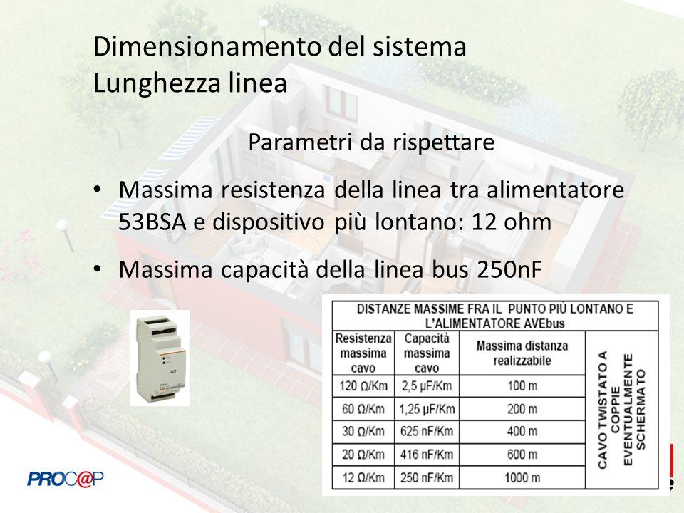 Dimensionamento del sistema Lunghezza linea Parametri da rispettare Massima resistenza della linea tra alimentatore 53BSA e dispositivo più lontano: 12 ohm Massima capacità della linea bus 250nF