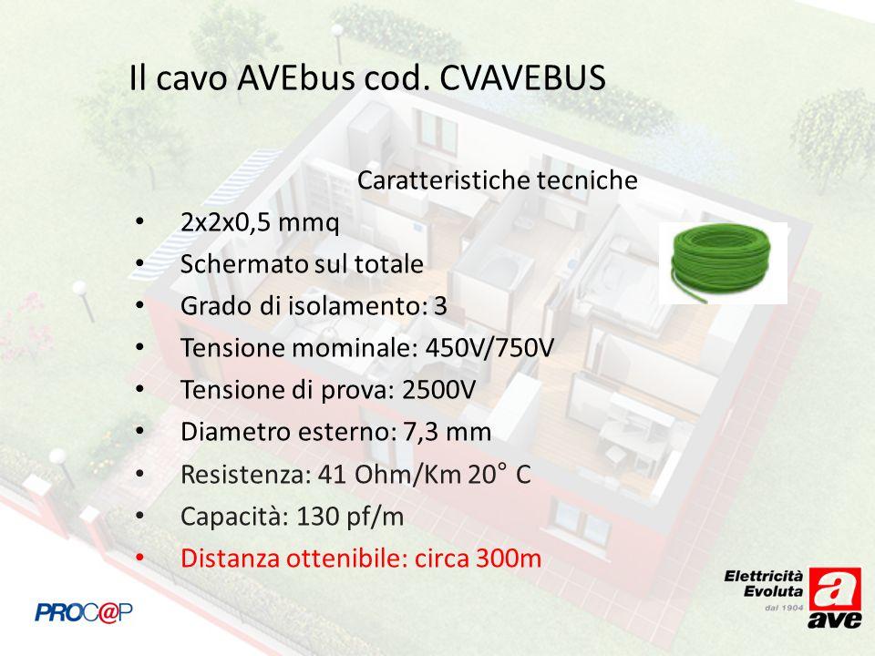 Il cavo AVEbus cod. CVAVEBUS Caratteristiche tecniche 2x2x0,5 mmq Schermato sul totale Grado di isolamento: 3 Tensione mominale: 450V/750V Tensione di