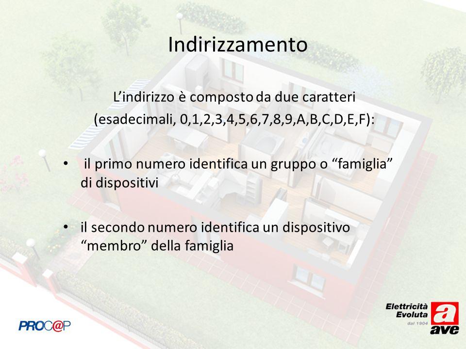 Indirizzamento Lindirizzo è composto da due caratteri (esadecimali, 0,1,2,3,4,5,6,7,8,9,A,B,C,D,E,F): il primo numero identifica un gruppo o famiglia di dispositivi il secondo numero identifica un dispositivo membro della famiglia