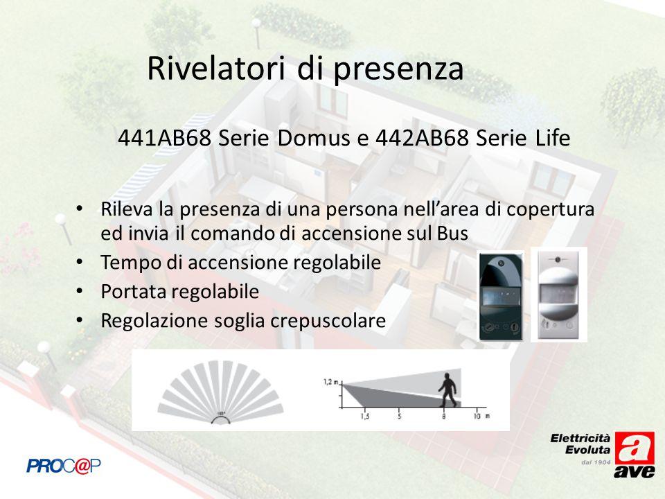 Rivelatori di presenza 441AB68 Serie Domus e 442AB68 Serie Life Rileva la presenza di una persona nellarea di copertura ed invia il comando di accensione sul Bus Tempo di accensione regolabile Portata regolabile Regolazione soglia crepuscolare