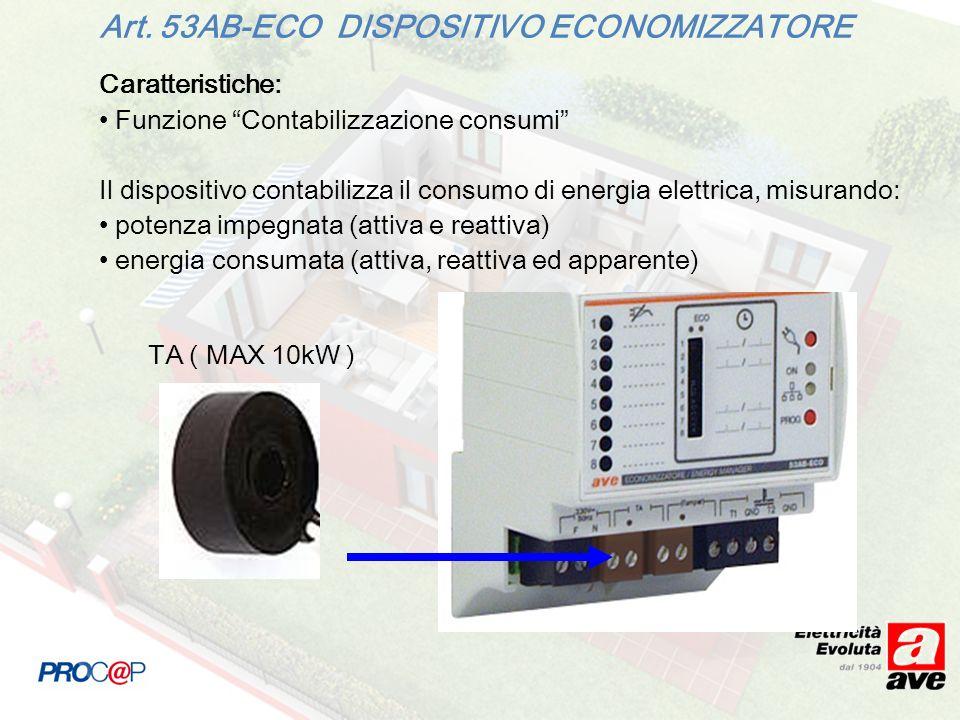 Caratteristiche: Funzione Contabilizzazione consumi Il dispositivo contabilizza il consumo di energia elettrica, misurando: potenza impegnata (attiva e reattiva) energia consumata (attiva, reattiva ed apparente) Art.
