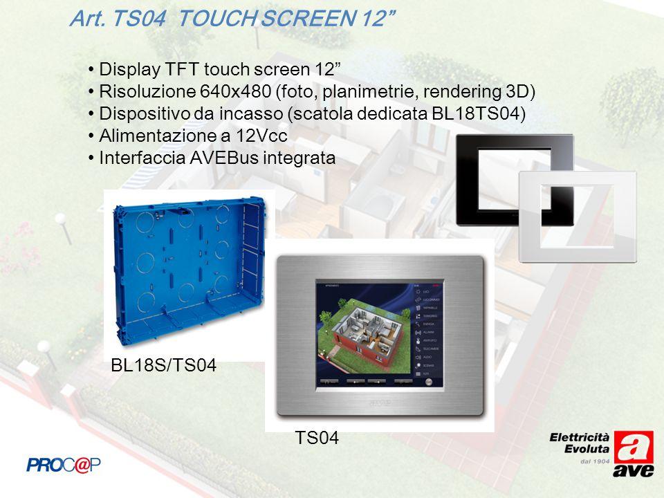 Art. TS04 TOUCH SCREEN 12 Display TFT touch screen 12 Risoluzione 640x480 (foto, planimetrie, rendering 3D) Dispositivo da incasso (scatola dedicata B