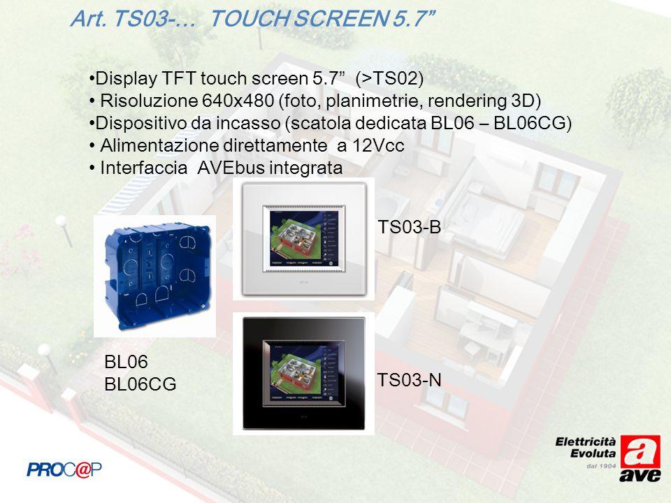 Display TFT touch screen 5.7 (>TS02) Risoluzione 640x480 (foto, planimetrie, rendering 3D) Dispositivo da incasso (scatola dedicata BL06 – BL06CG) Alimentazione direttamente a 12Vcc Interfaccia AVEbus integrata TS03-B BL06 BL06CG Art.